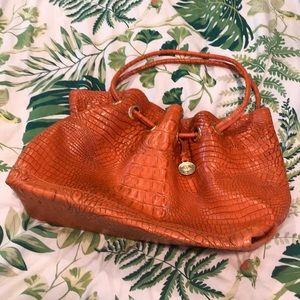 Brahmin orange crocodile leather embossed purse